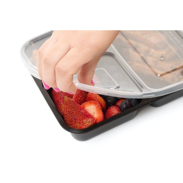 10 Meal Prep Food Storage Containers 3 Compartment Reusable Bento Lunch