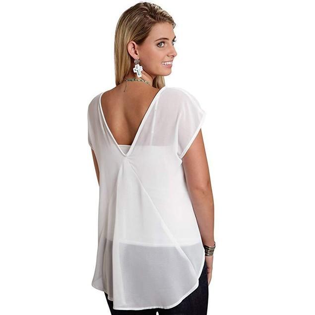 Roper Women's 9775 Solid Georgette Top - White White Blouse SM