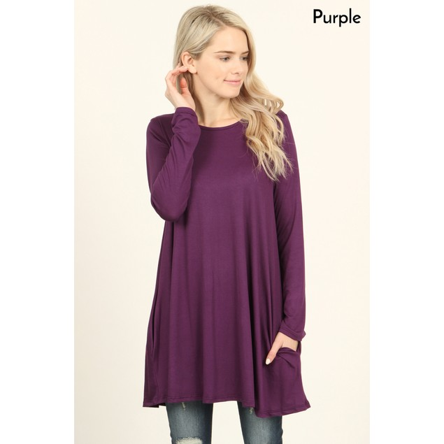 Long Sleeved Pocket Tunic | S-XL