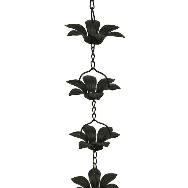 Copper Finish Metal Lily Flower Rain Chain Rain Chains