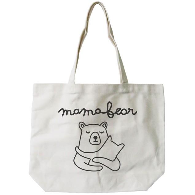 Mamabear Women's 100% Cotton Canvas Tote Bag, Reusable Eco-bag