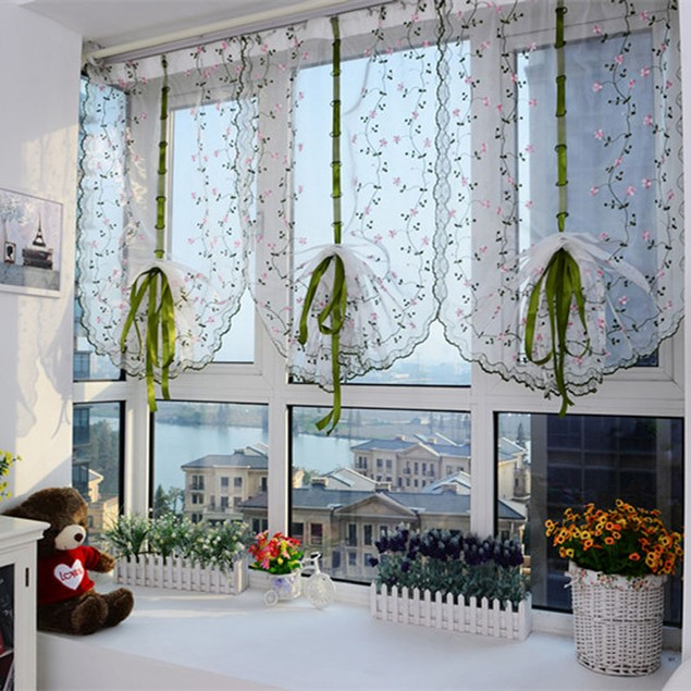 Flower color Tulle Door Window Curtain Drape Panel Sheer Scarf Valance