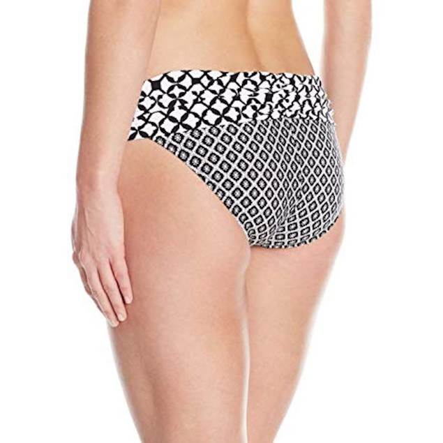 Athena Women's Baja Geo Lani Banded Bikini Bottom, Black, L