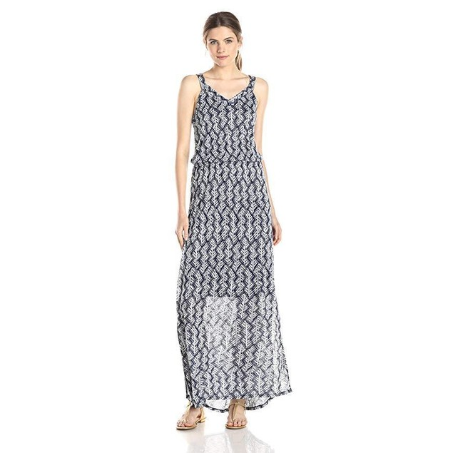Lucky Brand Women's Navy Printed Maxi, Navy/Multi, Large
