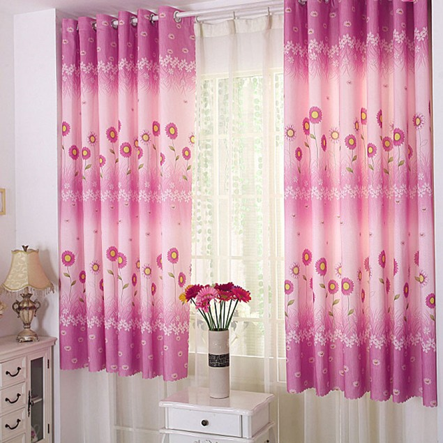Sunflower Calico Finished Product Cloth Window Screens Curtain