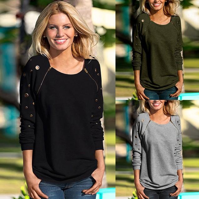 Women Zipper Long Sleeve Casual Sweatshirt T-Shirt Tops Blouse