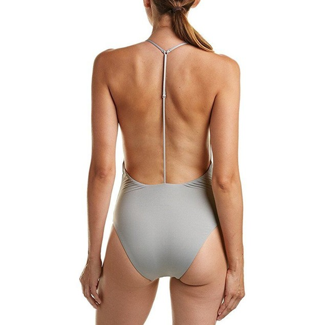 Dolce Vita Women's Solids T-Back One-Piece Cement Swimsuit SZ: L