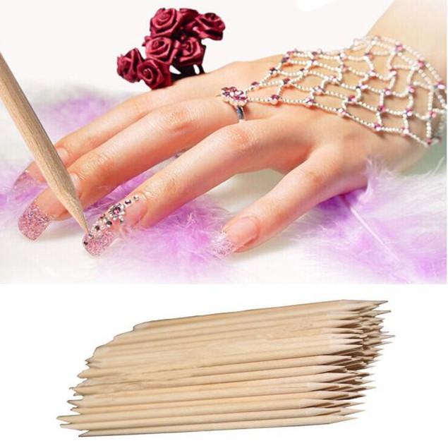 100Pcs Wood Stick Cuticle Pusher Remover Pedicure Manicure Tool