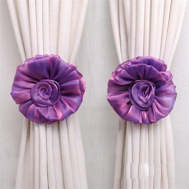 1Pair Rose Flower Window Curtain Tieback Buckle Clamp Hook Fastener