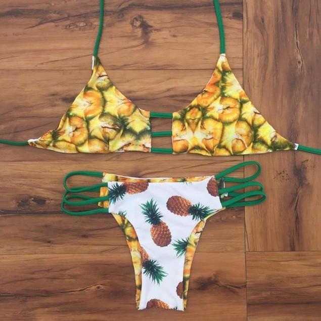 High Neck Halter Pineapple Bikini Set