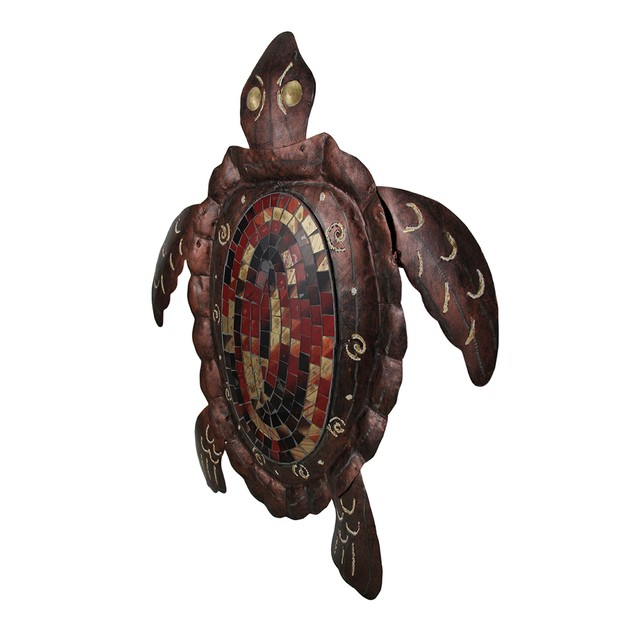 2 Piece Mosaic Shell Brown Sea Turtle Sculpture Wall Sculptures
