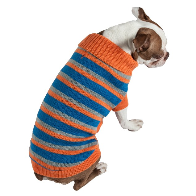 Heavy Cable Knit Striped Fashion Polo Dog Sweater