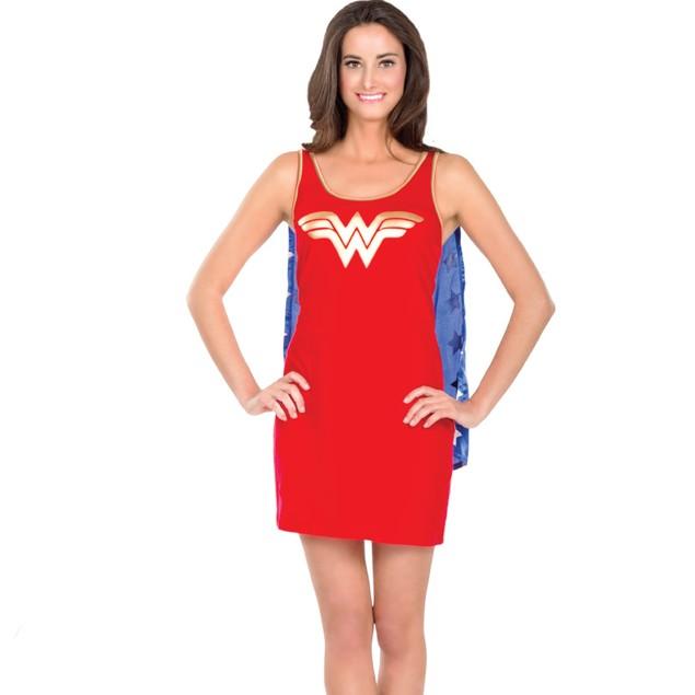Wonder Woman Tank Dress Cape Costume Superhero Hero Tunic Top Sexy