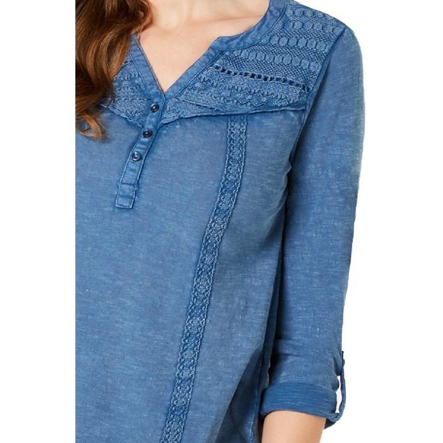 Style & Co Wo Cotton Crochet-Trim Roll-Tab Top Ocean Tide Blue Small