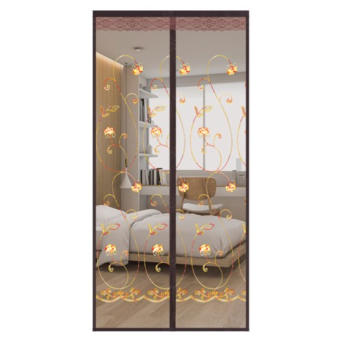 Magnetic Screen Door Mesh Curtain Embroidered Durable Mosquito Net Bug