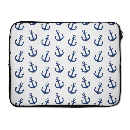 """EmbraceCase 17"""" Ink-Fuzed Laptop Sleeve - White and Navy Micro Anchors"""