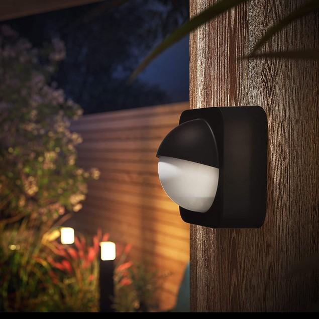 Philips Hue Dusk-to-Dawn Outdoor Smart Wireless LED Motion Sensor, Black &