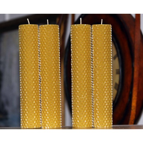 """4 of Handmade Hand Rolled Pure Beeswax Honeycomb Candles 8"""" Cotton Wick"""