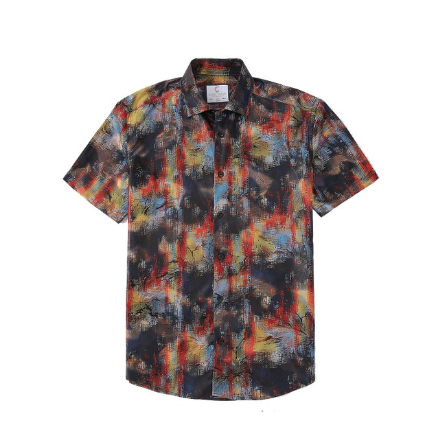 Sulso Couture Men's Short Sleeve Performance Printed Foil  Button Down