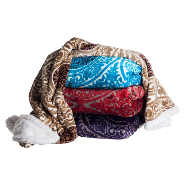 Lavish Home Fleece Sherpa Blanket Throw - Red Hearts