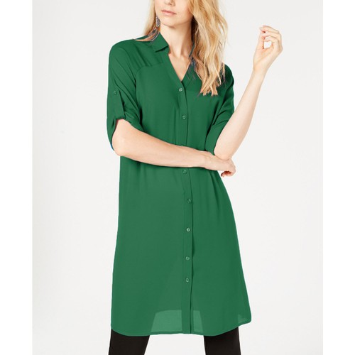 Alfani Women's Roll-Tab Tunic Shirt Green Size 2 Extra Large