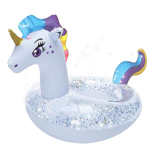 Unicorn Pool Float Glitter Inflatable Swim Ring
