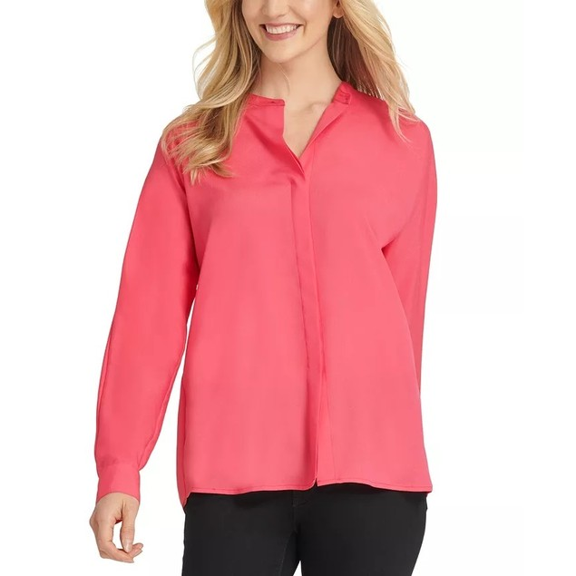 DKNY Women's Mock-Neck Blouse Med Pink Size X-Small