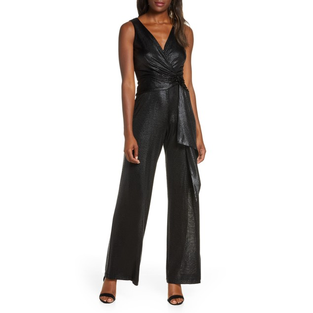 Taylor Women's Dresses Metallic Stripe Tie Waist Jumpsuit Blk Size 10