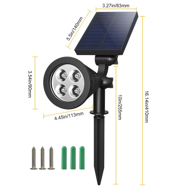 2Pcs Solar Spotlight Outdoor Dusk To Dawn Light