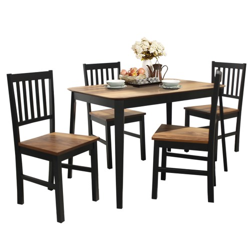Costway 5 Pcs Mid Century Modern Black 29.5'' Dining Table Set 4 Chairs W/W