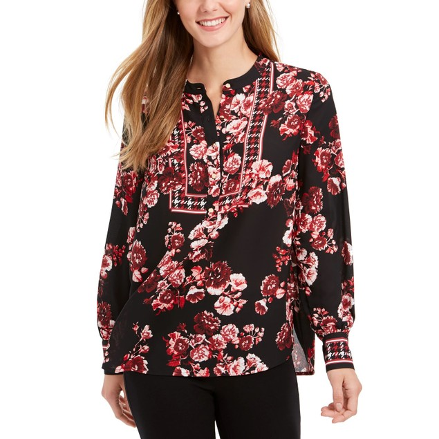Charter Club Women's Printed Banded-Collar Blouson Top Red Size Medium