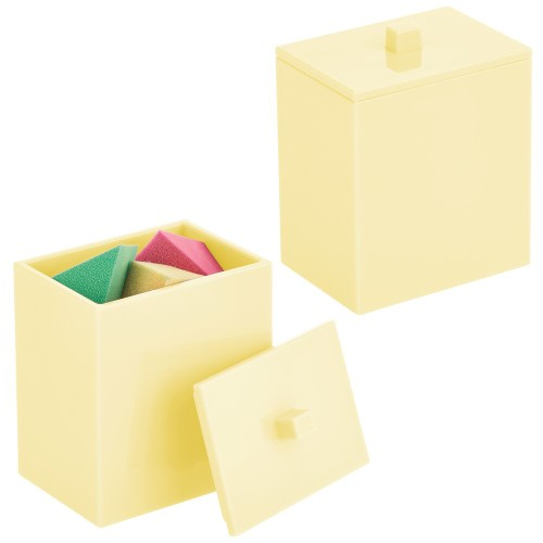 mDesign Storage Apothecary Jar for Bathroom, 2 Pack - Light Yellow
