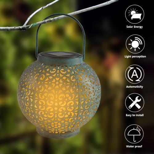 Straw Hat Lamp Beads Solar Light Control Automatic Waterproof Garden Retro Iron Lamp - 2 Colors