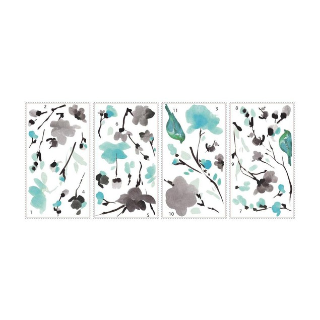 Roommates Baby Room Wall Decor Blossom WaterColor Bird Branch Wall Decals