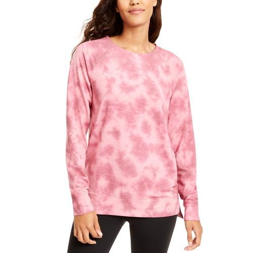 Ideology Women's Tie-Dyed High-Low Hem Sweatshirt Pink Size Large