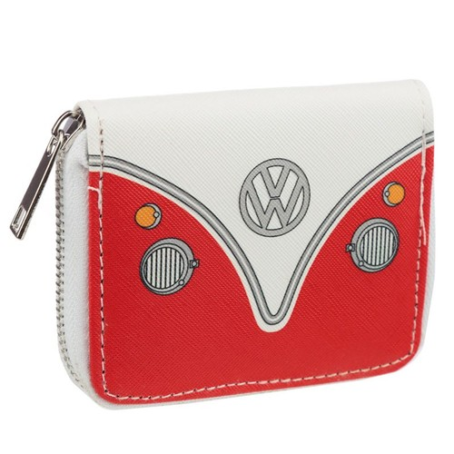 Volkswagen VW T1 Camper Bus Red Zip Around Small Wallet Purse