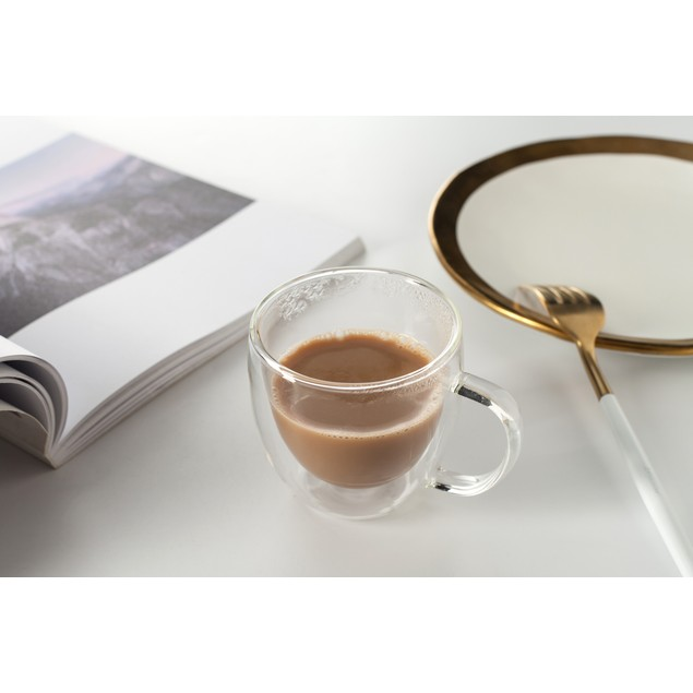 Eravino 5.4oz/160ml Set of Double Wall Insulated Coffee or Tea Glass Cup