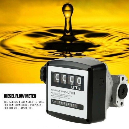 FM-120 4 Digital Diesel Gasoline Fuel Petrol Oil Flow Meter Counter Ga