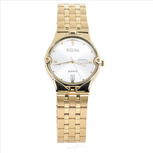 Sicura Womens Watches SJH 3832 52A Silver Quartz Stainless Steel Gold Tone