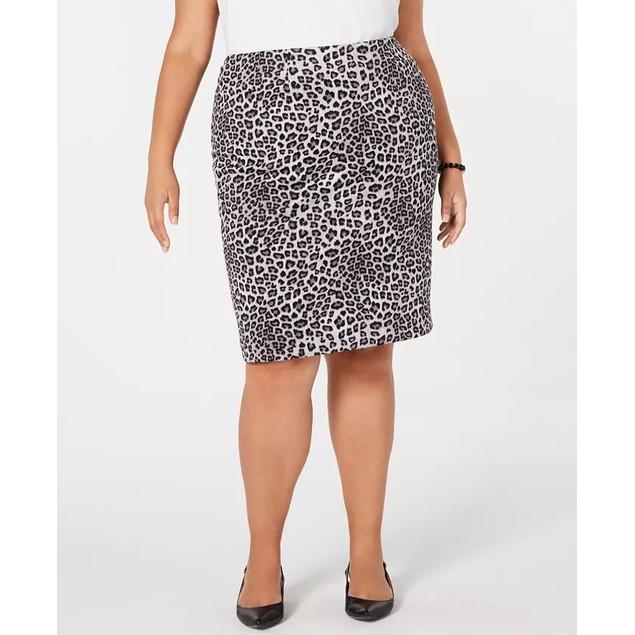 Kasper Women's Plus Leopard Print Pencil Skirt Medium Grey Size 20W