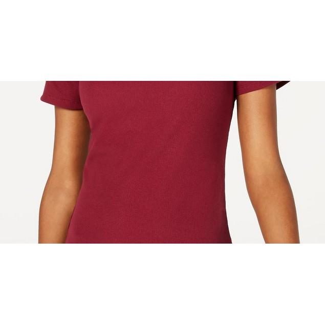 Ultra Flirt Junior's Crewneck Baby T-Shirt Dark Red Size Small