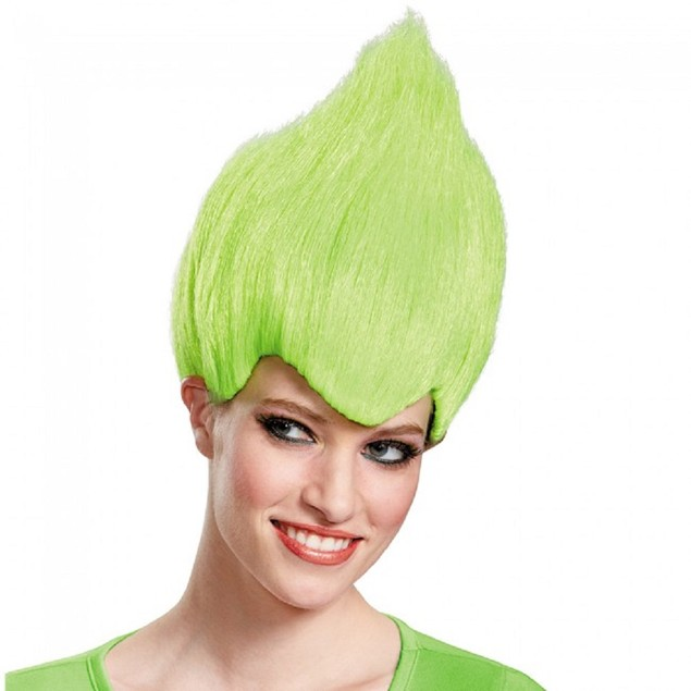 Green Wacky Wig Adult Troll Gnome Clown Doll Costume Team Dr. Seuss 90's