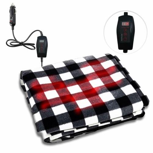 Zone Tech Car Heated Fleece Black Plaid Travel Blanket 45 Minute Safe Timer