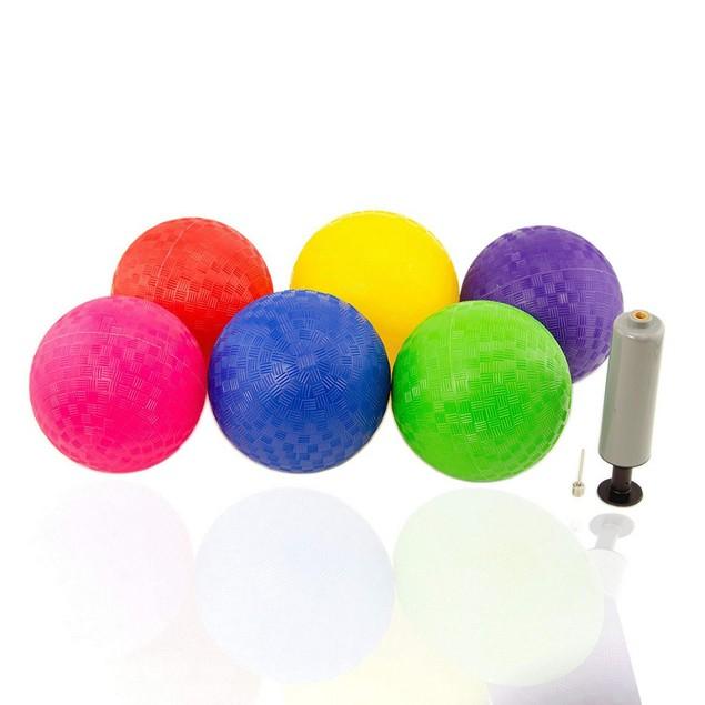 6 Piece Kickball Dodge-ball Hand Pump Sports Kids