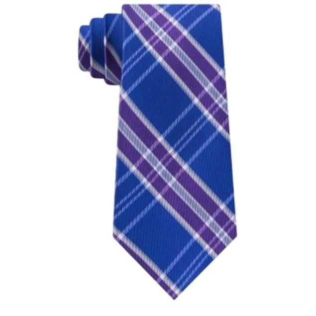 Tommy Hilfiger Men's Vincent Plaid Tie Purple Size Regular