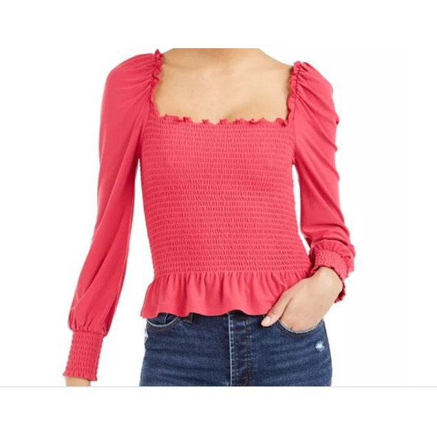 Bar III Women's Smocked Square Neck Top Red Size Large
