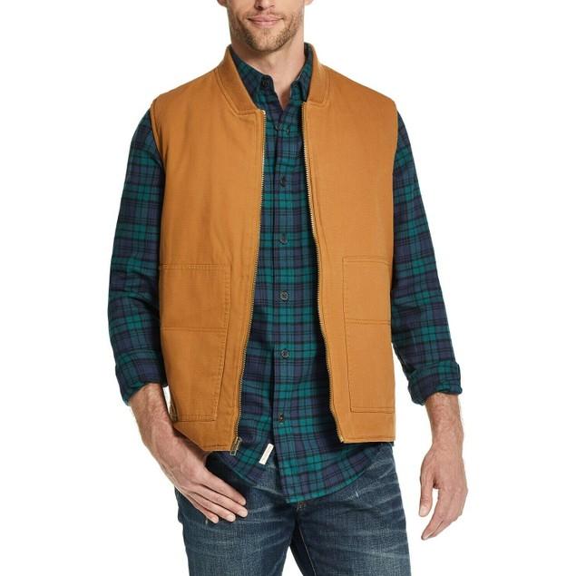 Weatherproof Vintage Men's Canvas Workwear Vest Brown Size Large