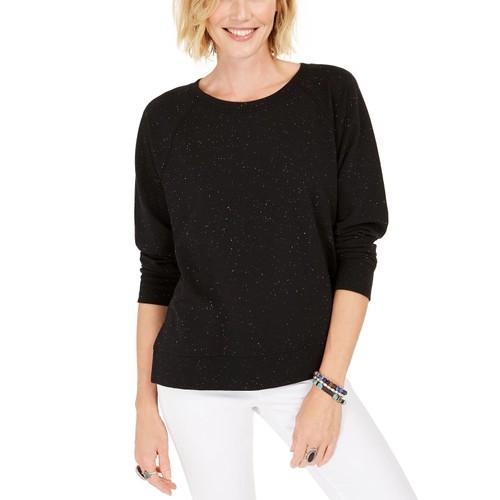 Style & Co Women's Speckled Sweatshirt Black Size X-Small