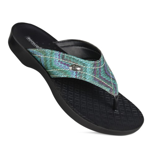 AEROSOFT Jute Vibrant Strap Comfortable Toe Post Summer Flip Flops for Women
