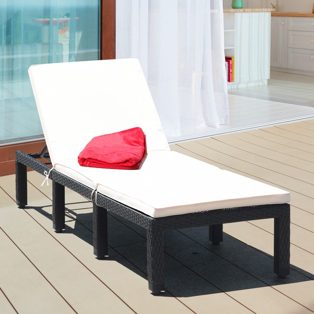 Costway 2PCS Patio Garden Rattan Lounge Chair Chaise Couch Cushioned Height